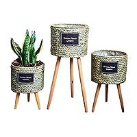 DAQUANTOU 花の植木鉢植物のディスプレイには、ウッド+ラタン床立ちリビングルーム織刺繍アレンジメントバスケットをスタンド,小さい,小さい