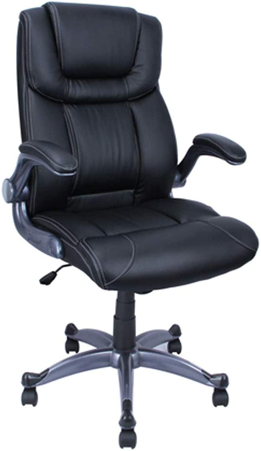 ALEKO ALC2380BL High Back Office Chair Ergonomic Computer Desk Chair Black PU Leather