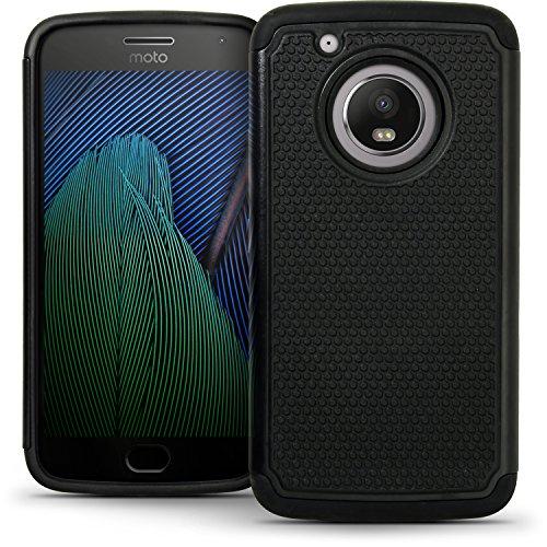 igadgitz U6563 Negro Dura Trasero & Silicona Funda Parachoques Compatible con Motorola Moto G 5ª Gen Plus (Lenovo Moto G5 Plus) + Protector Pantalla