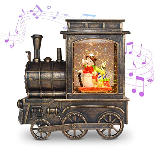Christmas Musical Snow Globe Lantern, Locomotive Music Box, Snow Globe Water Glittering Lighted Lantern Lamp for Christmas Home Decoration Plug in & Battery Operated