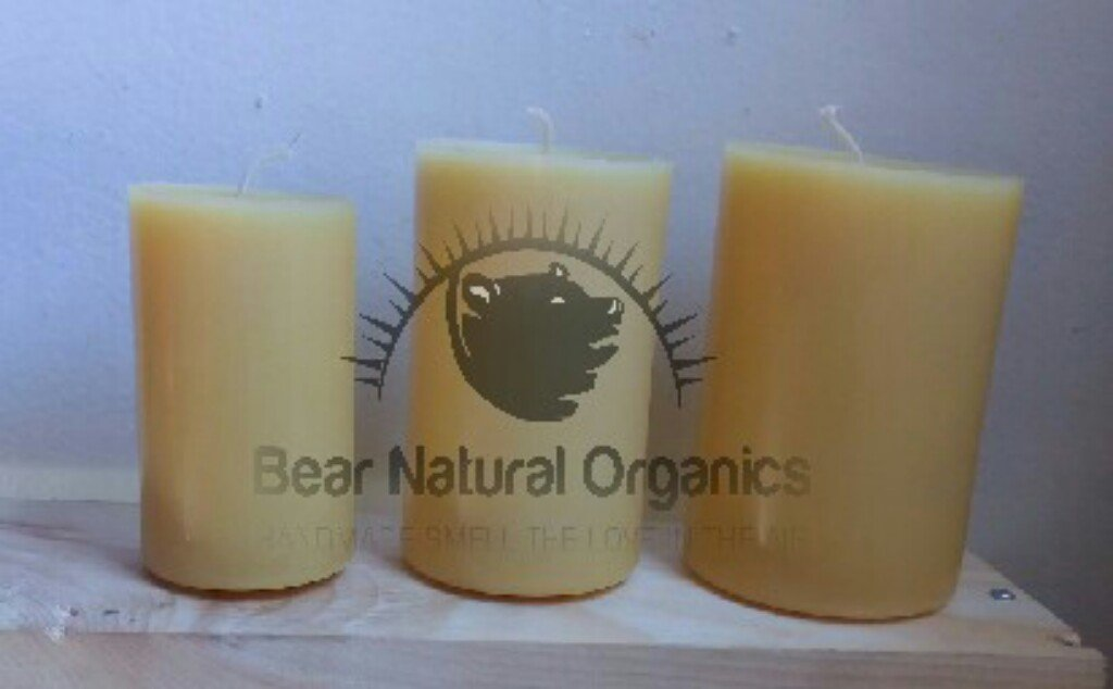5 ☆ very popular BearNaturalOrganics 100% Pure Raw Candles Dedication Beeswax Natural Pillar