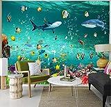 Fotomurales 3D Papel Pintado Murales Pegatinas De Pared De Fondo De Acuario De Dormitorio Infantil De Murales De Mundo Submarino De Delfines Personalizados 280Cm×200Cm