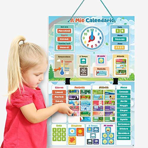 Il Mio Calendario di SmartPanda – Giocattolo Magnetico Educativo per Bambini – Include Orologio, Stazione Meteorologica ed Emozioni – per Bambine e Bambini, Muro o Frigo – in Italiano