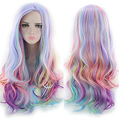 TANTAKO® Donne Lunghe Ondulate Multicolore Arcobaleno Parrucca Cosplay Resistente al Calore Holloween Carnevale Parrucca del Costume