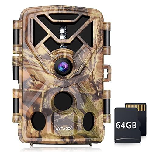 AYTARR 4K 24MP Wildkamera mit 64GB SD Karte 22 Meter Auslösedistanz Spurenkamera 42x 850nm Schwarz IR LED Jagd Wildkamera 0.2s Auslösegeschwindigkeit IP65 wasserdichte Kamera für Wildtierüberwachung