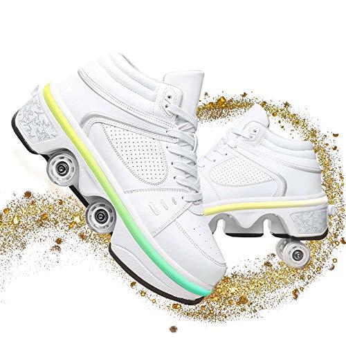 Dytxe Chaussures À Skates avec Roues LED Clignotante Baskets Mode Coloré Lumineux Chaussures À roulettes Roller pour Garçon Fille