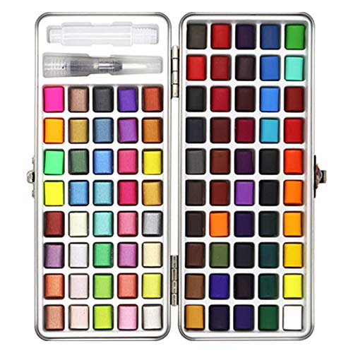 JKHK Watercolor Paint Set –90 Colors Portable Solid Pigment Watercolour Paint Set with Metal Ring, Painting Essential Set with Storage Box and 1Pcs Water Brush Pen,for Artists, Students or Hobbyists