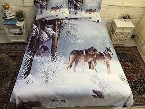 YZBEDSET Two Snow Mountain Wolf Bedding Set Duvet Cover Set Pillowcase Bed Linen Set Bedding,Us Twin 173X218Cm
