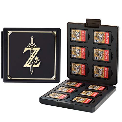 Caja de almacenamiento para juegos de Nintendo Switch – Funda de silicona compatible para Nintendo Switch, juegos de cartas con 12 llaves de juego + 12 llaves TF (Zelda negro)