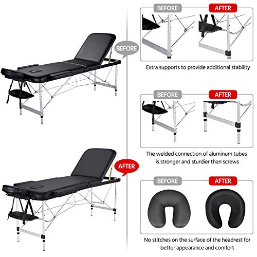 Yaheetech Massage Table Portable Massage Bed 3 Folding 84 Inch Aluminium Frame Lightweight Height Adjustable Salon Spa Table - Black
