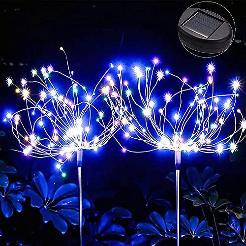 LIBRNTY Lámparas solares para jardín,Luz solar de fuegos artificiales,nueva generación de ideas de bricolaje a prueba de agua Luces...