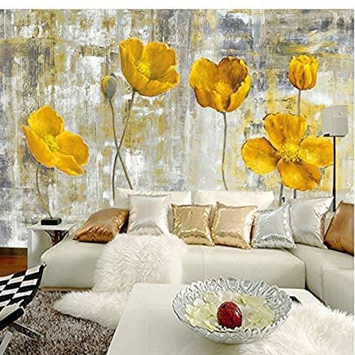 Europäische Art Vintage gelbe Blume Hintergrund Wand 3D Wandtapete Hotel Galerie Esszimmer Kunst Tapete 3D Wanddekoration fototapete 3d Tapete effekt Vlies wandbild Schlafzimmer-430cm×300cm