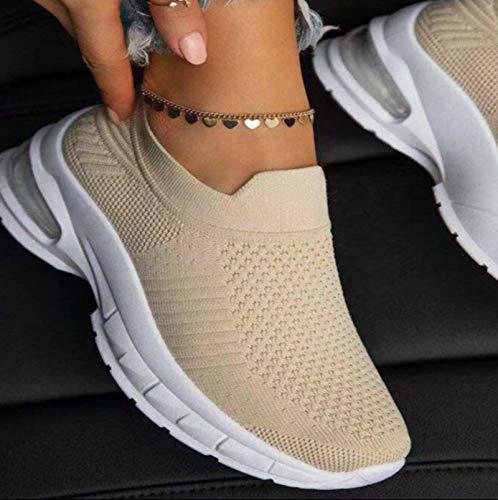 DQS Primavera otoño, Zapatos de oscilación para Mujer, Mocasines de Malla para Mujer, Plataformas Planas, cuñas, Zapatos para Mujer, Zapatillas de Deporte de Aumento de Altura