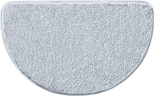 Erwin Müller Duschvorlage, Duschmatte, Dusschvorleger Uni rutschhemmend Silber Größe halbrund 50x80 cm - ultraweich, extrem saugfähig, flusenarm (weitere Farben)