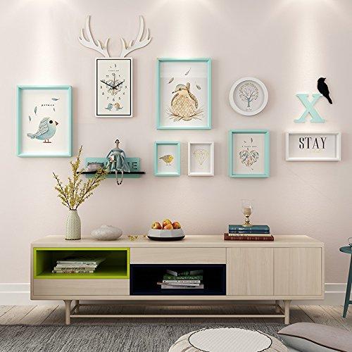 Elk horloges eenvoudig decoratief wandschilderij in de woonkamer restaurant achtergrond muurschildering, een wand schilderij doos 6 doos hertenkop klokken composiet massief houten frame wit blauw en mash-ups