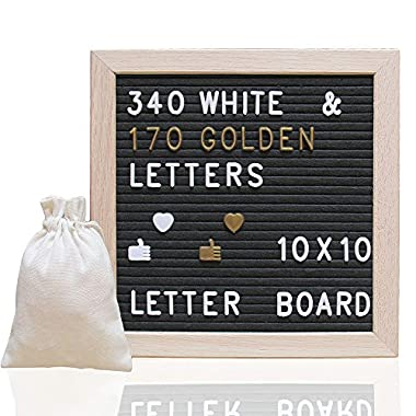 Letter Board Ultimate Kit - Felt Letter Board - 10x10 Wooden Frame Message Board Black Felt Letterboard 510 Characters ( 340 White and 170 Golden), Changeable Message Word Board Sign, Free Drawstring