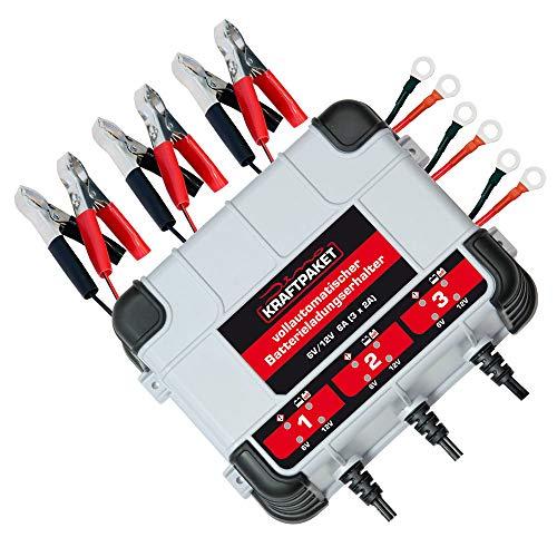 Dino KRAFTPAKET 136316 Erhaltungsladegerät 3x2A-6V/12V IP65 Batterieladegerät mit DREI Outputs für KFZ Auto Motorrad Quad ATV Boot, Grau