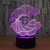 Creative Shell Diamond 3D Night Light LED 7 Cambio de Color lámpara de Mesa Dormitorio mesita de Noche iluminación del sueño Regalo decoración 2 Control Remoto