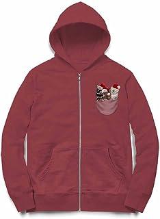 Fox Republic ポケット サンタ 子ウサギ バーガンディー キッズ パーカー シッパー スウェット トレーナー 130cm