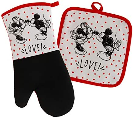 Disney Kitchen Neoprene Oven Mitt and Potholder Set with Hanging Loop Non Slip Heat Resistant product image