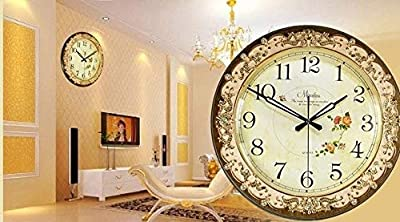 DishyKooker Fashion Antique Rustic Large Mute Wall Clock Fashion Antique Fashion Quartz Clock Modern Clock Chocolate