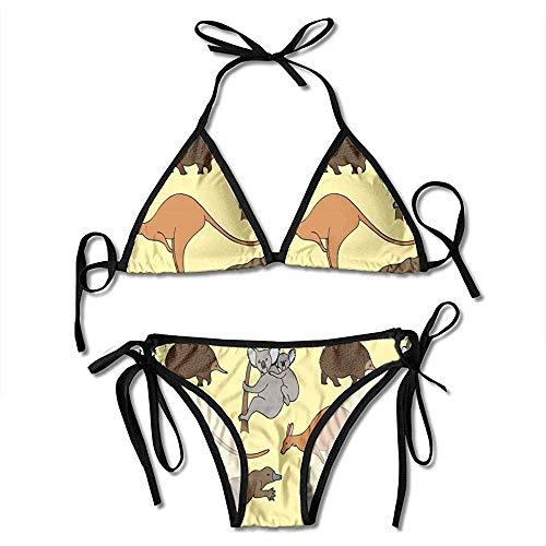huatongxin Swimsuit,Cute Kangaroo and Koala Women Bikini Set Adjustable Print Bikini Swimwears