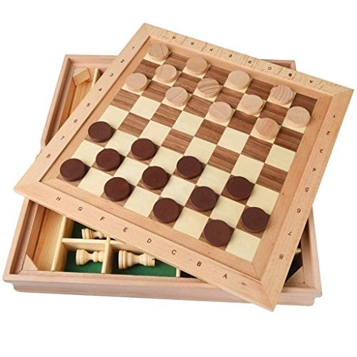 XHH Chess Set Solid Wood Three Dimensional Chess Chess Checkers Children Adult Puzzle Parent Child Chess Toys Leisure Decompression Ba