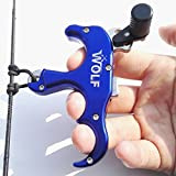 SHARROW Automatic Bow Release 3 Finger Thumb Release Archery Release Aid Compound Bow Thumb Trigger (Blue)