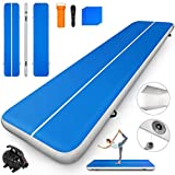Happybuy 10ft 13ft 16ft 20ft 23ft 26ft 30ft Air Track 8 inches Airtrack 4 inches Inflatable Air Track Tumbling Mat for Gymnastics Martial Arts Cheerleading Tumble Track with Pump Blue 17ft 40x4in