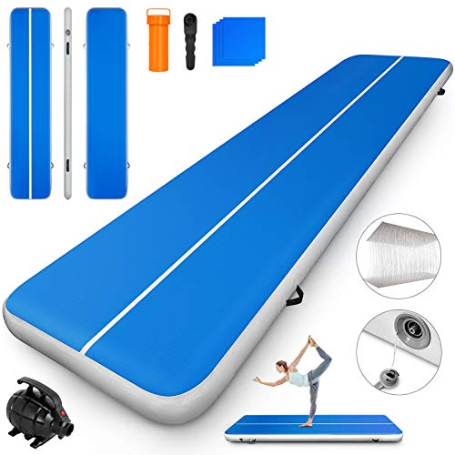 Happybuy 10ft 13ft 16ft 20ft 23ft 26ft 30ft Air Track 8 inches Airtrack 4 inches Inflatable Air Track Tumbling Mat for Gymnastics Martial Arts Cheerleading Tumble Track with Pump SkyBlue 13ft 40x4in