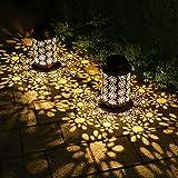 Grande Lanterna Solare Giardino Lanterne Solare da Esterno Luci a LED Accessori da Decorazione Giardino Impermeabile Metallo Curvo Appese lampade per Terrace, Cortile, Prato, Natale, Confezione da 2