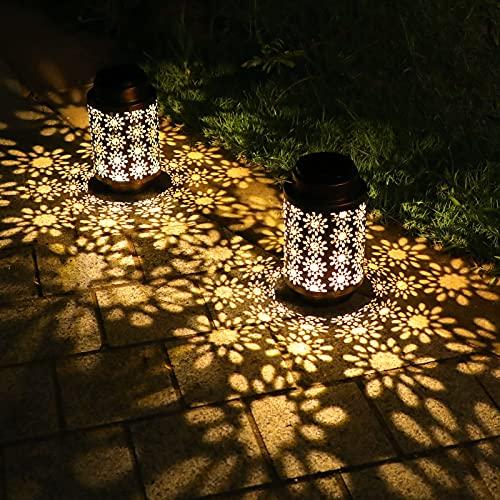 YINUO LIGHT Solarlaternen für Außen, 2 Stück Metall Solarlampen für Draußen Hängend, Dekorative Garten Laternen für Garten,Terrasse,Veranda,Rasen,Hof,Gehweg,IP65 Wasserdicht,Dekolampe für draußen