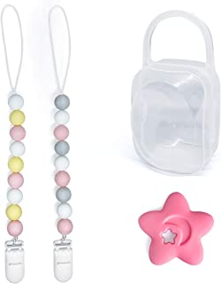 Pacifier Teether Clips Silicone for Girl 2 Pack with Teether and Pacifier Holder Case