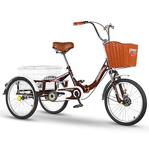 Triciclo para adultos bicicleta Bicicletas De 3 Ruedas Marco De Acero De Alto Carbono Triciclo Adulto 20 Pulgadas Confort Bicicletas Asiento Ajustable Tres Ruedas Cruiser Bike Para Recreació(Size:Red)