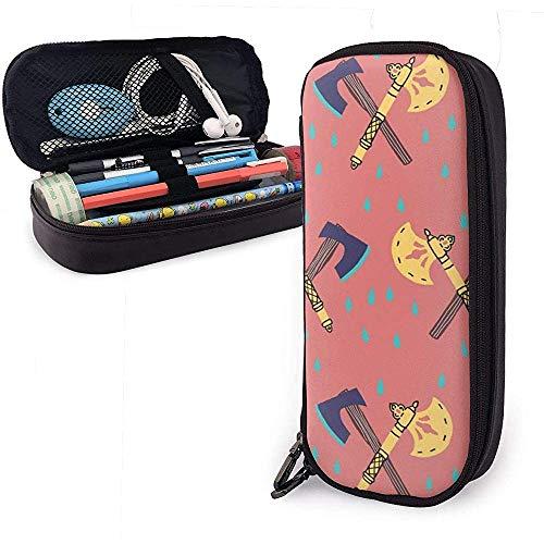 Gouden blauwe bijl patroon PU lederen zak opslag zakken draagbare student potlood kantoor briefpapier tas rits portemonnees make-up