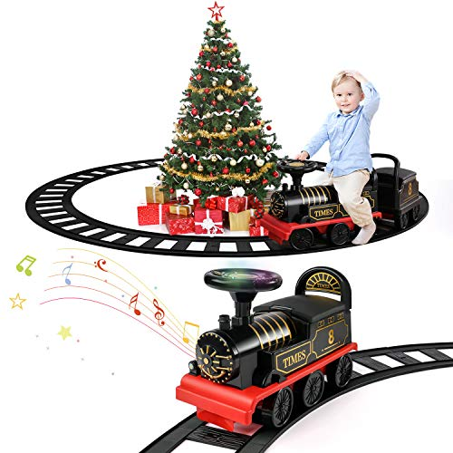 Temi Ride On Toy Powered Train with Track Early Educational Electric Vehicle Kids Riding Car w/ Lights & Sounds Storage Seat Gift for Children Baby Toddlers Boys & Girls Age 2-6