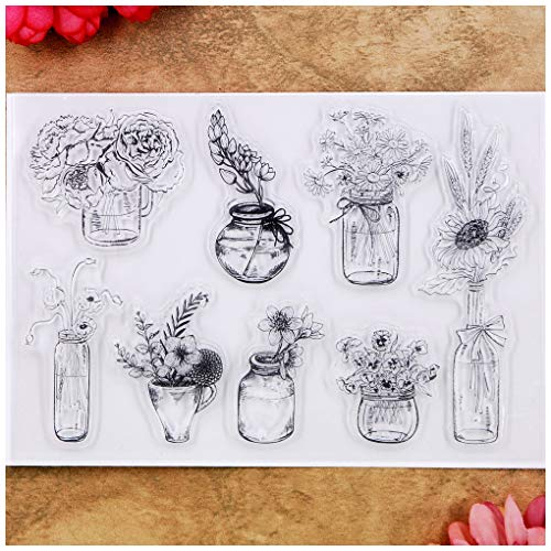 Kwan Crafts Flowers Vase Rose Chrysanthemum Clear Stamps for Card Making Decoration and DIY Scrapbooking