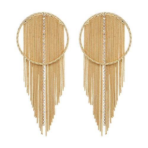 ZAVANA Chain Tassels Statement Oorbellen voor Vrouwen. Gouden Kroonluchter Oorbellen met kettingen en strass steentjes