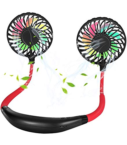Lovmoo Mini USB Personal Portable Neck Fan, Hand Free Rechargeable Wearable Neckband Fan, Color Changing LED, Aromatherapy, 360° Rotation, Headphone Design, for Sport, Office, Home, Outdoor, Travel