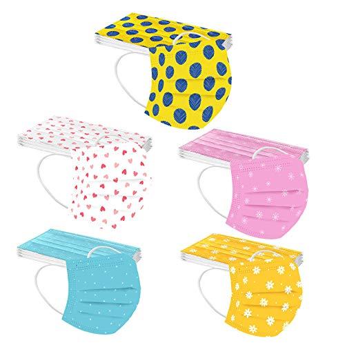 N   C 50 Unidades Adultos Moda De_Mascarilla_ Las_Mascarillas D_esechables 1 paquete de 5 colores Con estampado Elástico 3 Capas para Actividades Decorativa