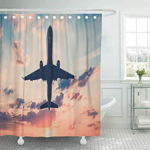 XZLWW Stof douchegordijn, gekleurd vliegtuig met haken op zonsondergang hemel vliegtuig jet schilderachtige oranje vliegtuig