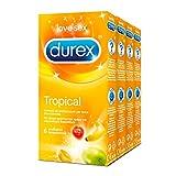 Durex Tropical - Preservativos aromatizados con fruta, 24 unidades