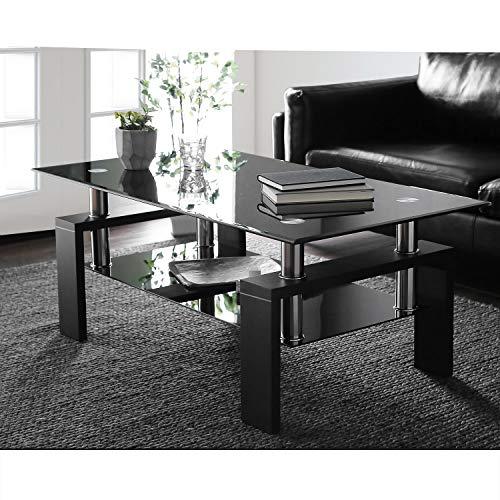 æ— Mesa de café rectangular de cristal negro de alto brillo con estante inferior, muebles modernos de sala de estar, mesa de café de cristal templado, 100 x 60 x 45 cm (patas de madera negra)