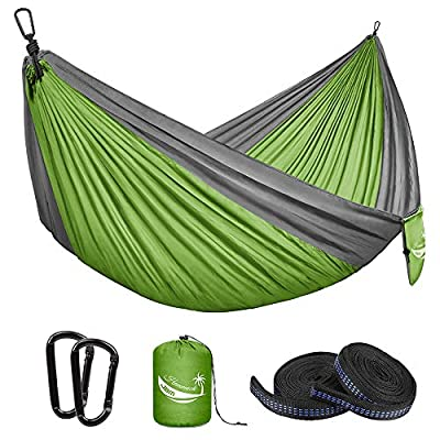 JBM Camping Hammock Single & Double Portable Hammock Hiking Travel Backpacking - Nylon Hammock Swing - Support 400lbs with Nylon Ropes and Steel Carabiners (Double - Green & Gray)