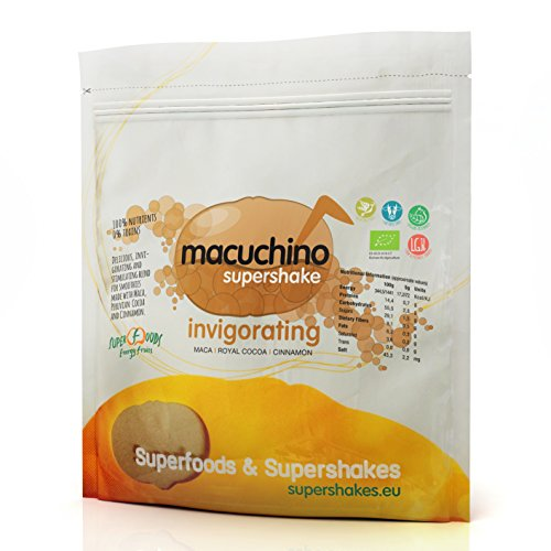 Energy Feelings Macuchino | Maca con Cacao y Canela | Vigorizante y Energizante Natural | Rico de Vitaminas para mejorar la Concentración | Maca Andina y Cacao en Polvo Ecológicos | Pack 500g