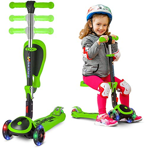 3 Wheel Scooter with Folding//Removable Seat Adjustable Height Light Up Wheels for Toddlers Girls /& Boys 2-12-Years-Old SANSIRP 2-in-1 Kick Scooter for Kids