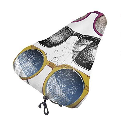 Cubiertas de asiento impermeables Gafas de sol con cubierta de sillín de bicicleta multicolor vívida Cubierta de asiento para bicicleta con cordón, resistente a la lluvia y al polvo para la mayoría