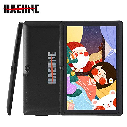 Haehne 7 Zoll Tablet PC, Google Android 9.0 GMS Zertifiziertes, Quad Core 1GB RAM 16GB ROM, Zwei Kameras, 1024 x 600 HD Bildschirm, Bluetooth, WiFi, Schwarz