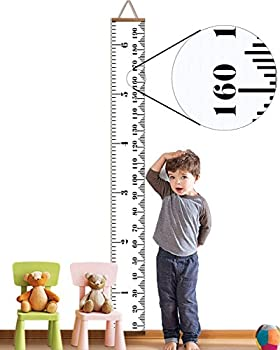 AOMINGGE Hanging Growth Chart Height Measure Ruler Roll Up Wooden Canvas Growth Ruler for Kids Baby Birthday Gift