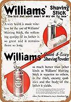 ウィリアムズのシェービングスティックパウダーティンサイン装飾ヴィンテージ壁金属プラークカフェバー映画ギフト結婚式誕生日警告のためのレトロな鉄の絵